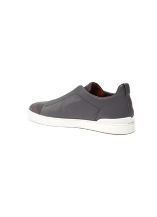- ERMENEGILDO ZEGNA - Triple stitch leather suede sneakers