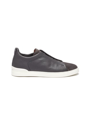 Main View - Click To Enlarge - ERMENEGILDO ZEGNA - Triple stitch leather suede sneakers