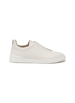 Main View - Click To Enlarge - ERMENEGILDO ZEGNA - Triple stitch leather sneakers