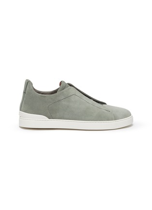 Main View - Click To Enlarge - ERMENEGILDO ZEGNA - Triple stitch suede sneakers
