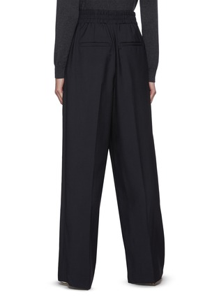 Back View - Click To Enlarge - BRUNELLO CUCINELLI - Elastic waist canvas wool blend pants