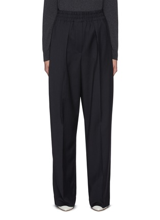 Main View - Click To Enlarge - BRUNELLO CUCINELLI - Elastic waist canvas wool blend pants