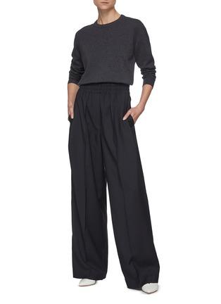 Figure View - Click To Enlarge - BRUNELLO CUCINELLI - Elastic waist canvas wool blend pants