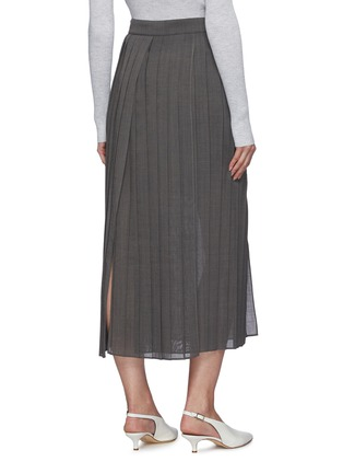 Back View - Click To Enlarge - BRUNELLO CUCINELLI - Pleated gauze maxi skirt