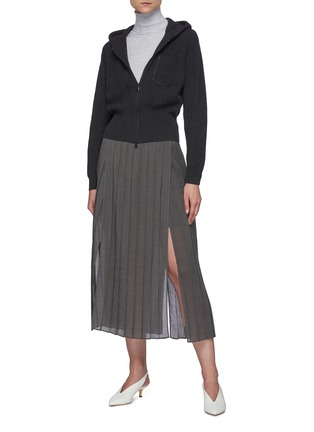 Figure View - Click To Enlarge - BRUNELLO CUCINELLI - Pleated gauze maxi skirt