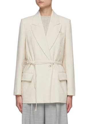Main View - Click To Enlarge - BRUNELLO CUCINELLI - Belted single button corduroy blazer
