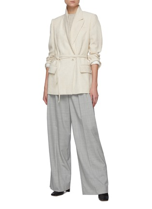 Figure View - Click To Enlarge - BRUNELLO CUCINELLI - Belted single button corduroy blazer