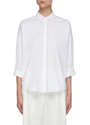 Main View - Click To Enlarge - BRUNELLO CUCINELLI - Stretch poplin tailored shirt