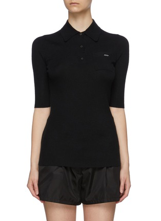 Main View - Click To Enlarge - PRADA - Mid Sleeve Cashmere Blend Polo Shirt