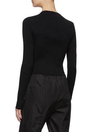 Back View - Click To Enlarge - PRADA - Logo Embroidered Collar Wool Rib Sweater