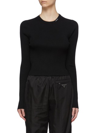 Main View - Click To Enlarge - PRADA - Logo Embroidered Collar Wool Rib Sweater