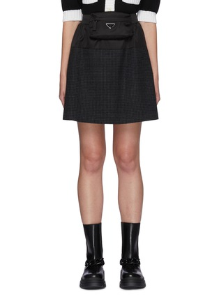 Main View - Click To Enlarge - PRADA - Knee Length Plaid Skirt With Big Pocket