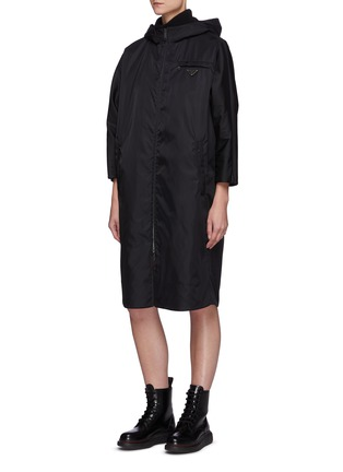 Detail View - Click To Enlarge - PRADA - Re-Nylon Reversible Belted Hooded Coat