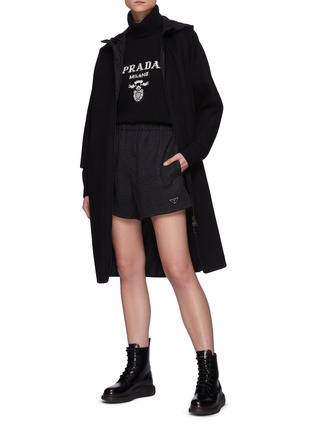 Figure View - Click To Enlarge - PRADA - Re-Nylon Reversible Belted Hooded Coat