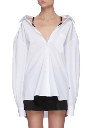 Main View - Click To Enlarge - PRADA - Cotton Poplin Shirt With Nylon Straps