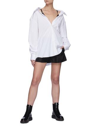 Figure View - Click To Enlarge - PRADA - Cotton Poplin Shirt With Nylon Straps