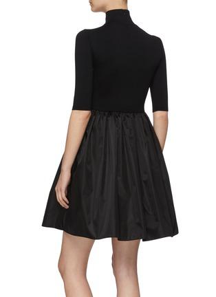 Back View - Click To Enlarge - PRADA - Logo Embroidered Mock Neck Gathered Re-Nylon Mini Dress