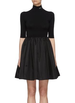 Main View - Click To Enlarge - PRADA - Logo Embroidered Mock Neck Gathered Re-Nylon Mini Dress