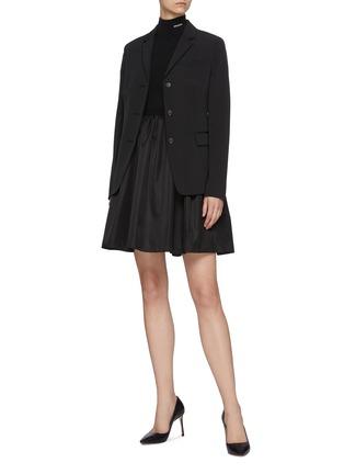 Figure View - Click To Enlarge - PRADA - Logo Embroidered Mock Neck Gathered Re-Nylon Mini Dress