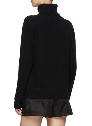Back View - Click To Enlarge - PRADA - Logo Jacquard Turtleneck Wool Sweater
