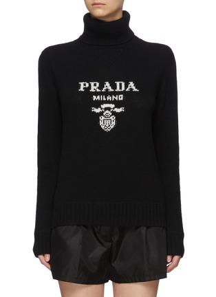 Main View - Click To Enlarge - PRADA - Logo Jacquard Turtleneck Wool Sweater