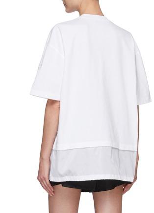 Back View - Click To Enlarge - PRADA - Logo Print Nylon Hem Insert T-shirt