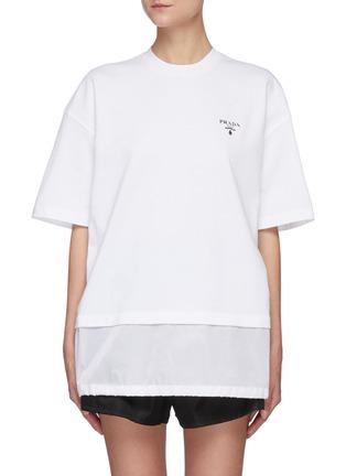 Main View - Click To Enlarge - PRADA - Logo Print Nylon Hem Insert T-shirt