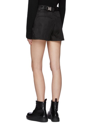 Back View - Click To Enlarge - PRADA - Belted Front Pleat Re-Nylon Shorts with Waist Pouch