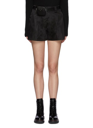 Main View - Click To Enlarge - PRADA - Belted Front Pleat Re-Nylon Shorts with Waist Pouch