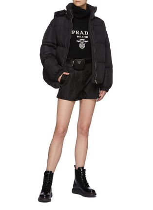 Figure View - Click To Enlarge - PRADA - Belted Front Pleat Re-Nylon Shorts with Waist Pouch