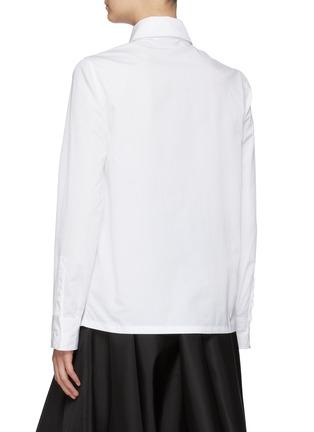 Back View - Click To Enlarge - PRADA - Logo Plaque Point Collar Nylon Contrast Panel Cotton Shirt