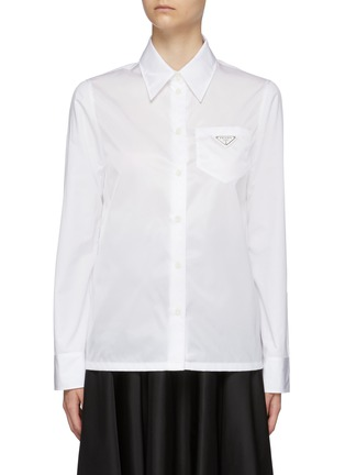 Main View - Click To Enlarge - PRADA - Logo Plaque Point Collar Nylon Contrast Panel Cotton Shirt