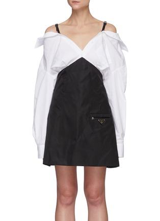 Main View - Click To Enlarge - PRADA - Off-shoulder shirt dress