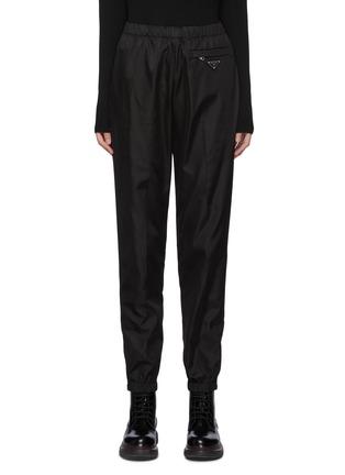 Main View - Click To Enlarge - PRADA - Logo Plaque Zipped Pocket Nylon Crop Jogger Pants