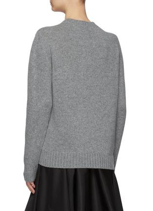 Back View - Click To Enlarge - PRADA - Logo Jacquard Turtleneck Cashmere Wool Blend Sweater