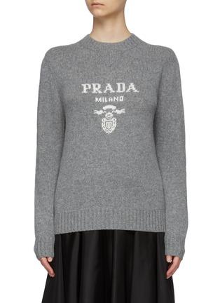 Main View - Click To Enlarge - PRADA - Logo Jacquard Turtleneck Cashmere Wool Blend Sweater