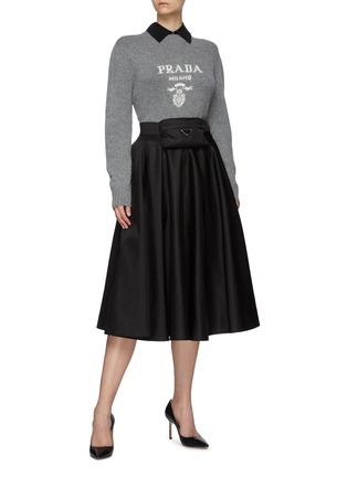 Figure View - Click To Enlarge - PRADA - Logo Jacquard Turtleneck Cashmere Wool Blend Sweater