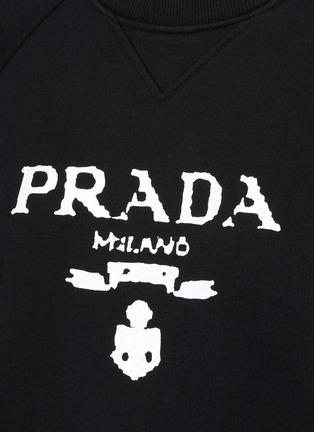 - PRADA - Logo Print Crewneck Cotton Sweatshirt