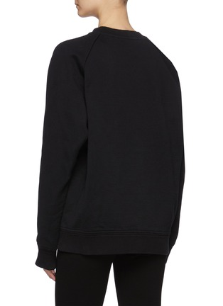 Back View - Click To Enlarge - PRADA - Logo Print Crewneck Cotton Sweatshirt