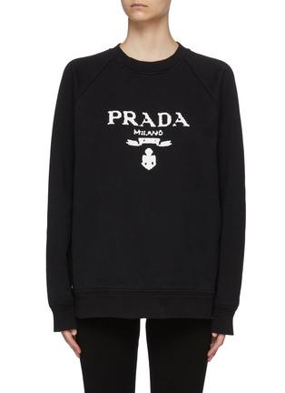 Main View - Click To Enlarge - PRADA - Logo Print Crewneck Cotton Sweatshirt