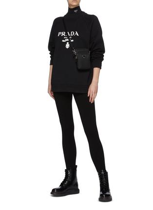 Figure View - Click To Enlarge - PRADA - Logo Print Crewneck Cotton Sweatshirt