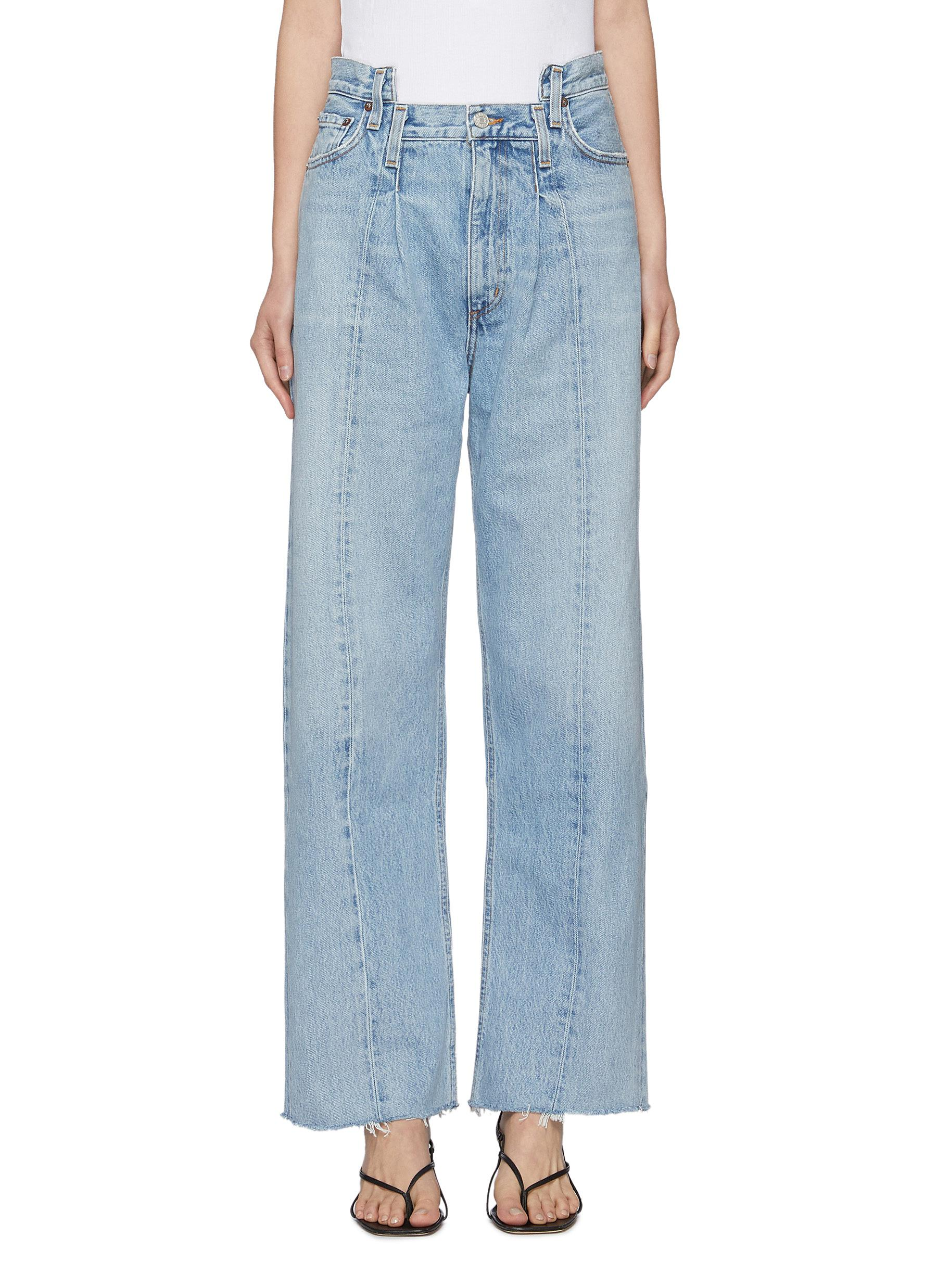 Displaced Waistband Wide Leg Jeans