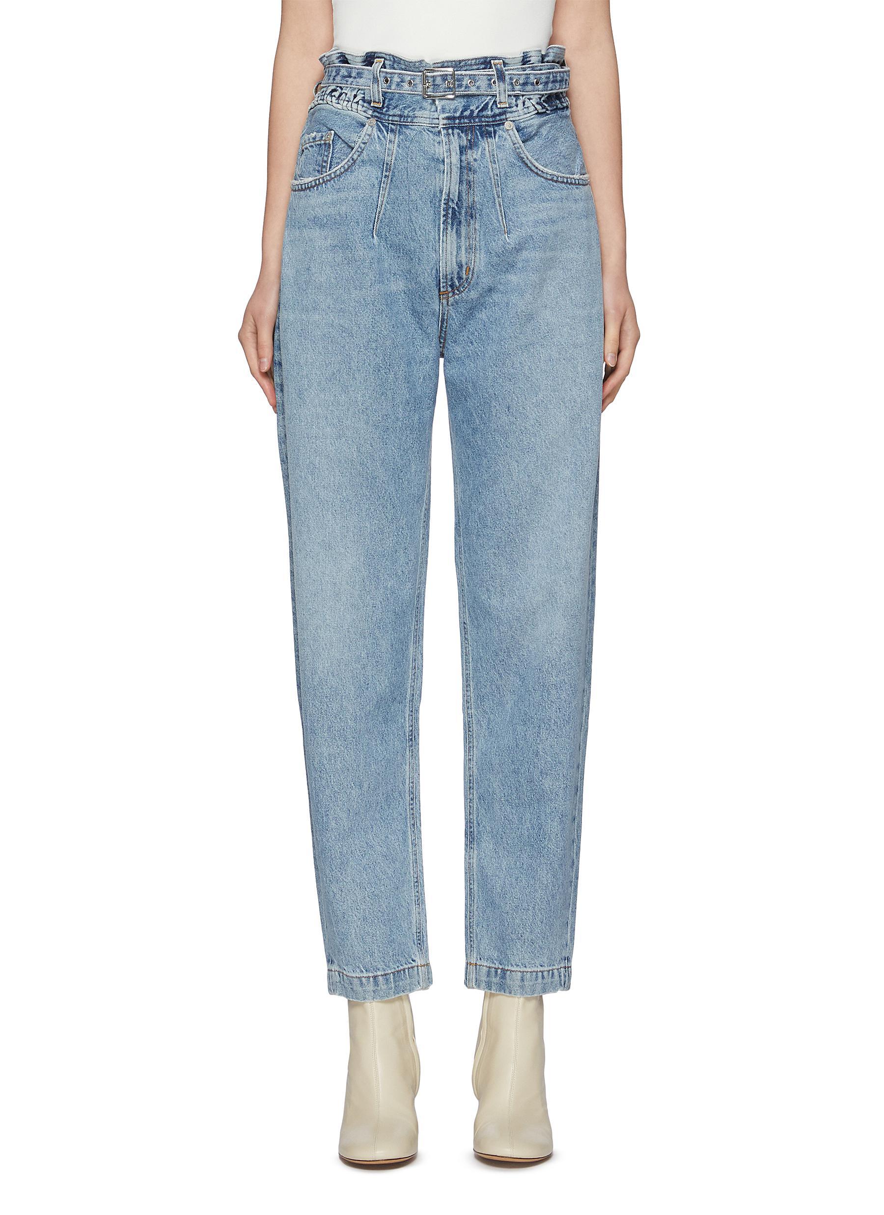 'Riya' Belted Taper Leg Jeans