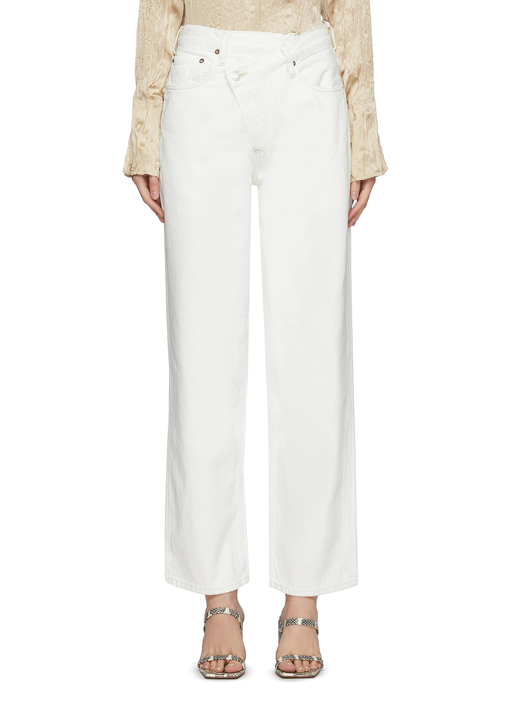 Displaced Waistband Bleached Wide Leg Jeans