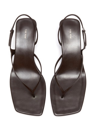 Detail View - Click To Enlarge - THE ROW - 'Constance' Sculpted Heel Strappy Thong Slingback Leather Sandals