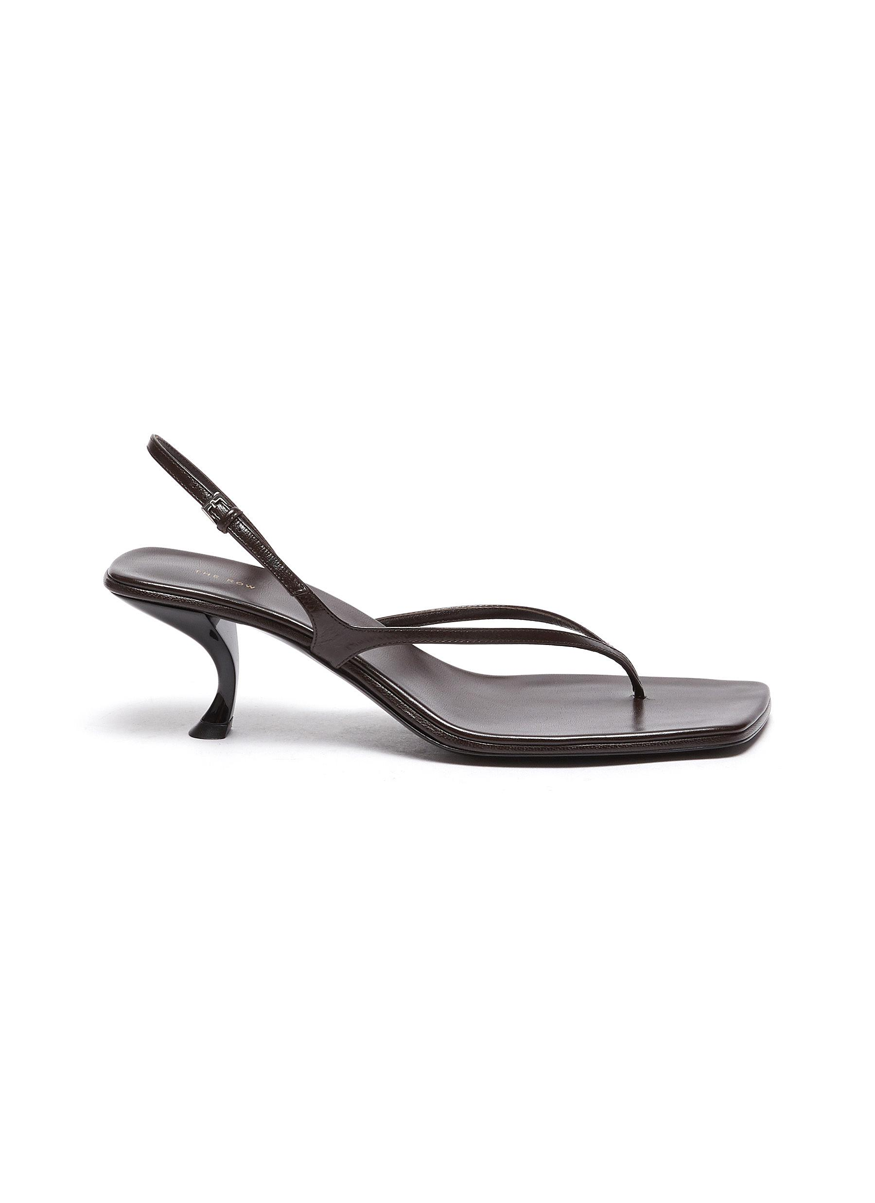 The Row 'CONSTANCE' SCULPTED HEEL STRAPPY THONG SLINGBACK LEATHER SANDALS