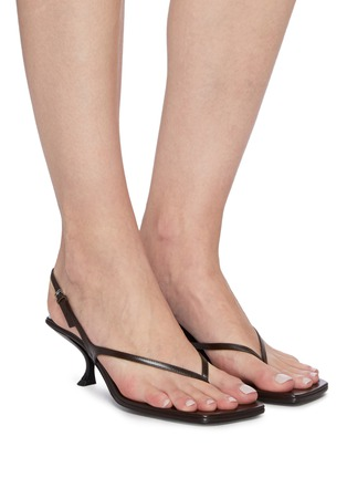 Figure View - Click To Enlarge - THE ROW - 'Constance' Sculpted Heel Strappy Thong Slingback Leather Sandals