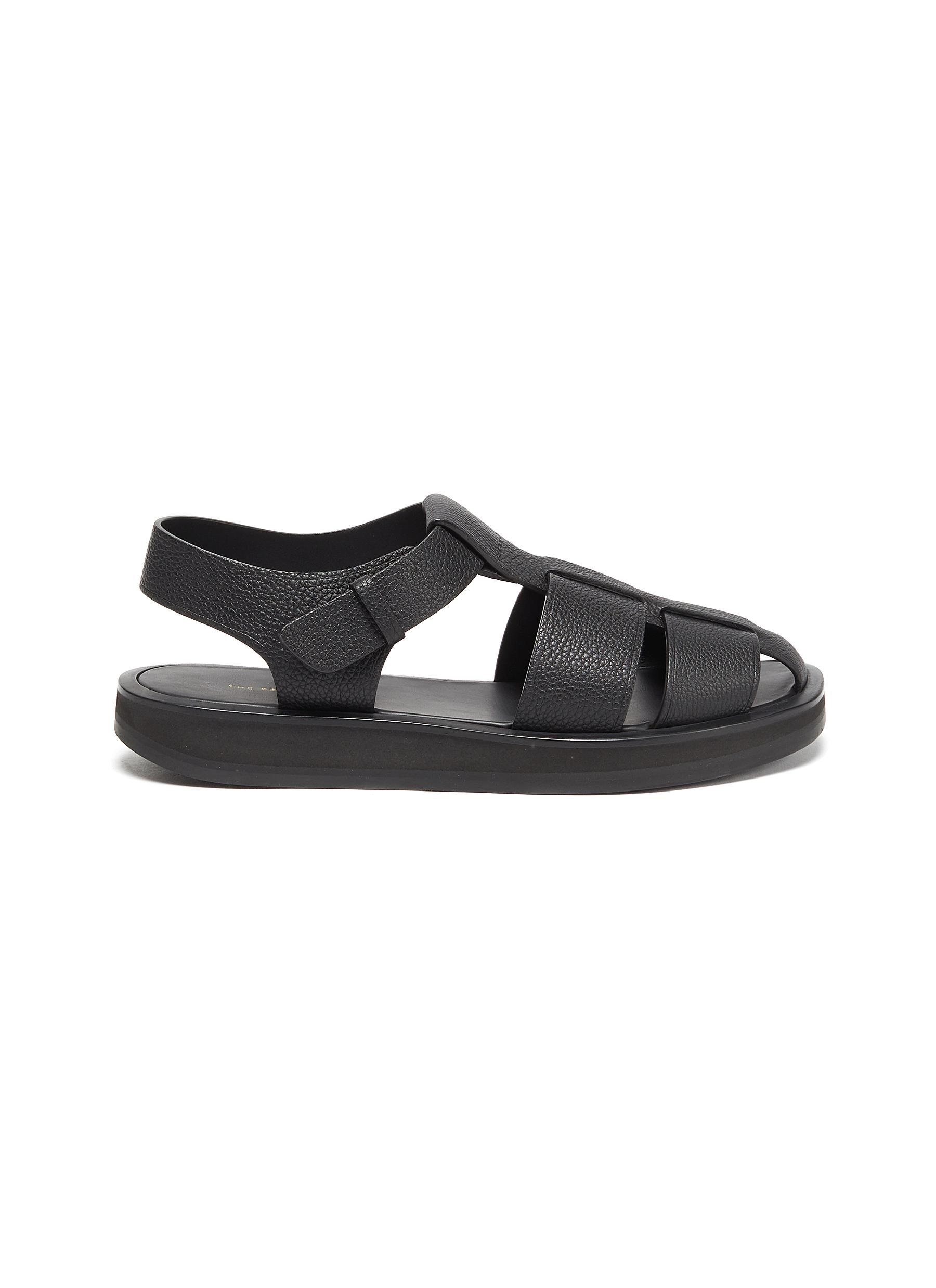 The Row Leathers WIDE BAND LEATHER SANDALS