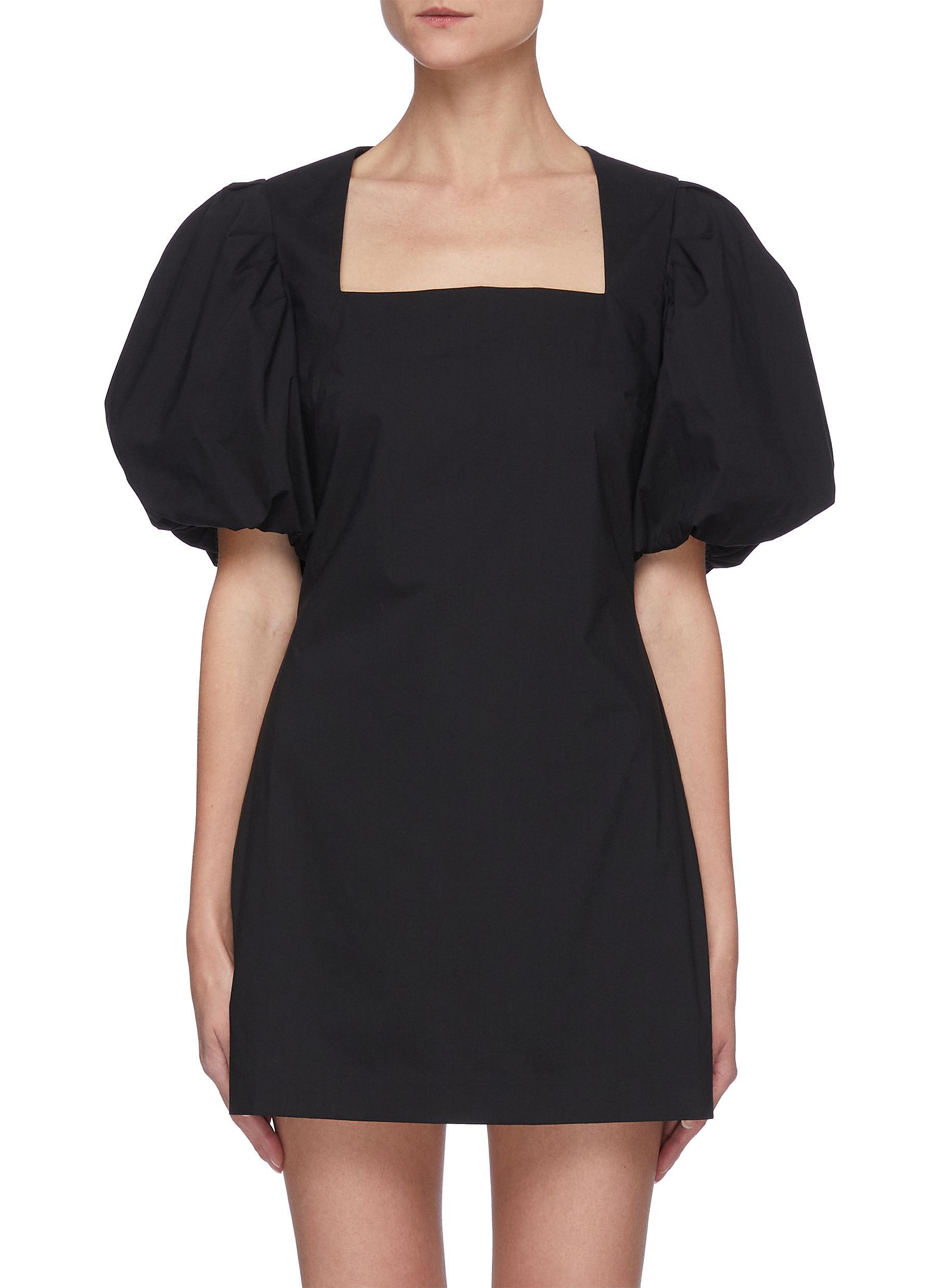 'Nina' puff sleeve square neck mini dress
