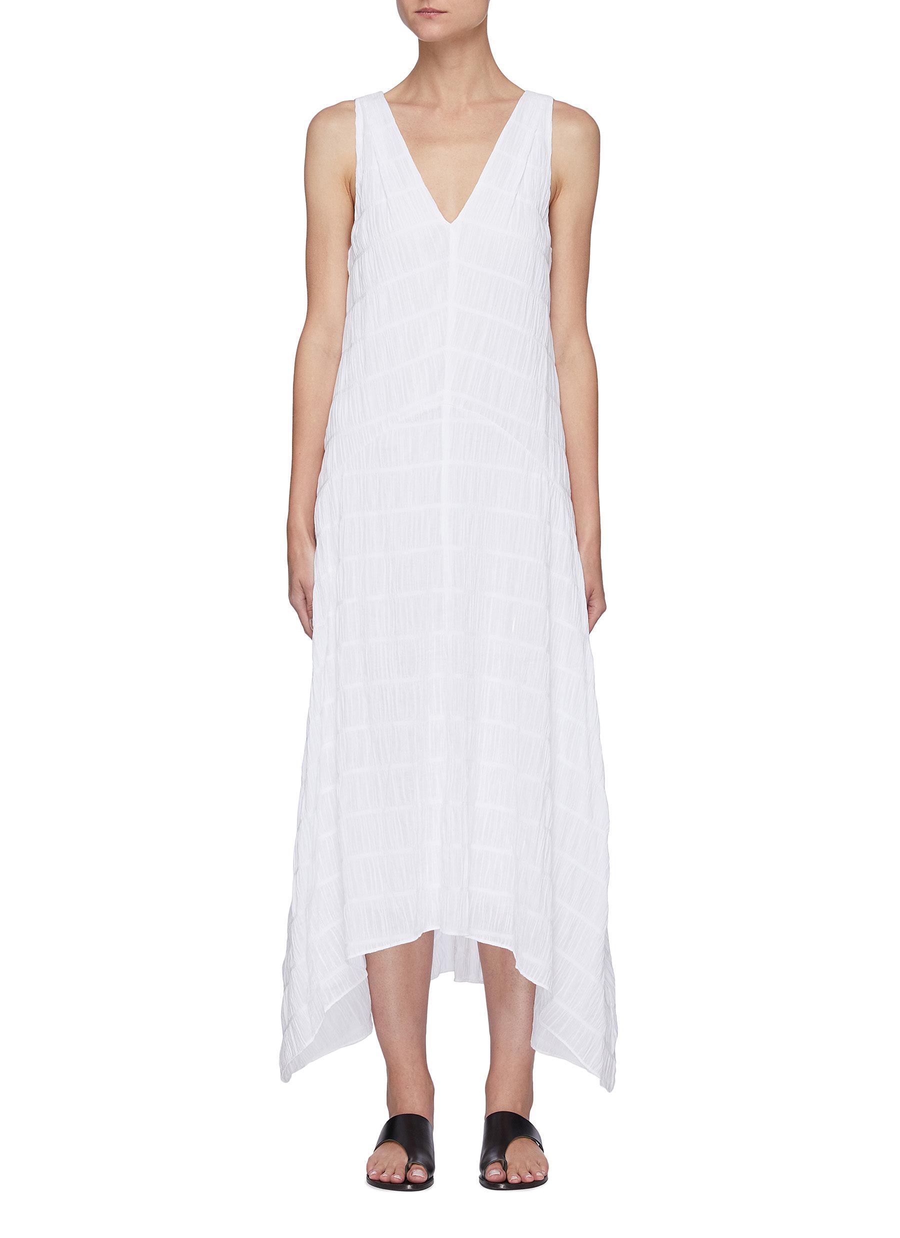 'Savannah' tiered plissé sleeveless maxi dress